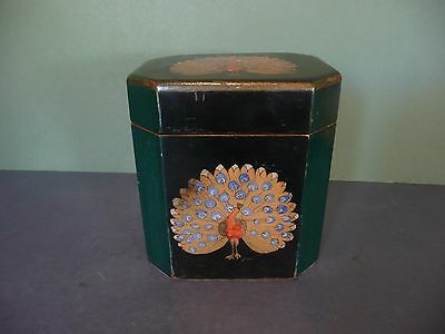 Stunning Antique Hand Painted Wooden Tea Caddy With Peacock Detail