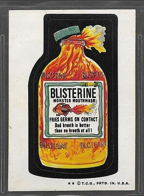 Trading Card Sticker 1970's Wacky Packages Blisterine Mouthwash Brown Back