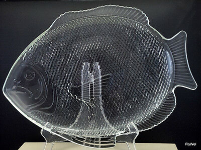 """Oven Proof USA Fish Serving Platter Clear Glass 15.5"""" x 11.5"""" Large Figural"""