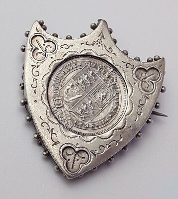 1887 - Silver Coin - Sixpence / 6d - Queen Victoria - Cased In Brooch - Rare