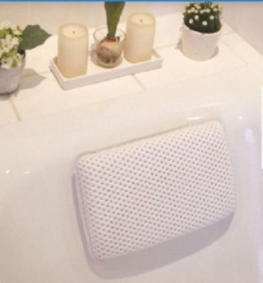 Relaxing White Spongy Cushioned Luxury Bath Spa Pillow Bathroom Rest Neck Head