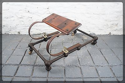 Weird Victorian Sprung Mahogany Step / Seat on Wheeled Frame Thing - Steam Punk