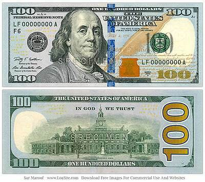 $100 Dollar Bill, Federal Reserved Note Series 2009A Circulated.
