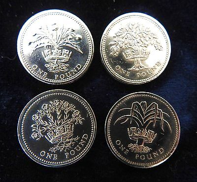 one pound coins- Old floral flower set x4 coins