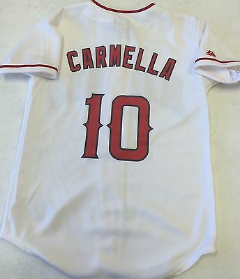 237e2630c5e LA Angels oddball Majestic Athletic replica home jersey NWOT sz youth M  CARMELLA