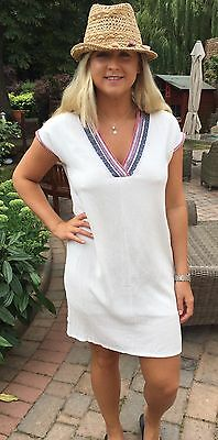 098b13084f5 New Gold   Silver Paris White Beach Summer Cover Up Tunic Dress Size Uk 12