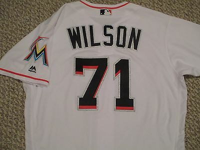 Kenny Wilson sz 44 #71 2016 Miami Marlins Game jersey issued home white patch