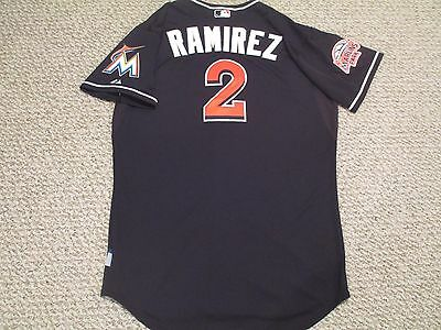 Hanley Ramirez SZ 48 #2 2012 Miami Marlins Game jersey issued alt black 2 patch