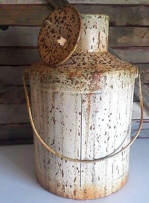 "12"" Rustic Metal Milk Can Farm Can w/ Cover Chipped Paint Shabby-Chic Decor NEW"