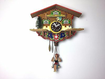 Beautiful Vintage Black Forest Swiss Mechanical Wind Up Cuckoo Wall Clock