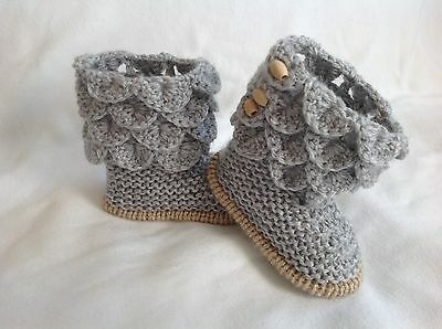 Hand knitted baby girl  booties/shoe -0-3 months