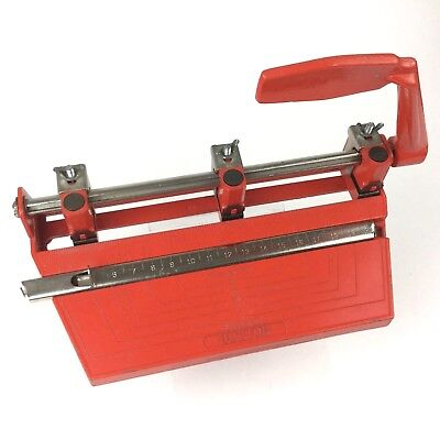 Vintage Red BOSTON 3 Hole Std Punch   Retro Metal Desk Accessory   Paper Puncher