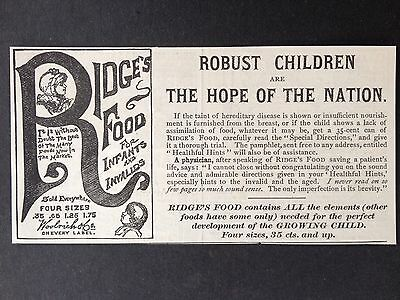 Antique 1886 Ad (1800-4)~Ridge's Food For Infants And Invalids