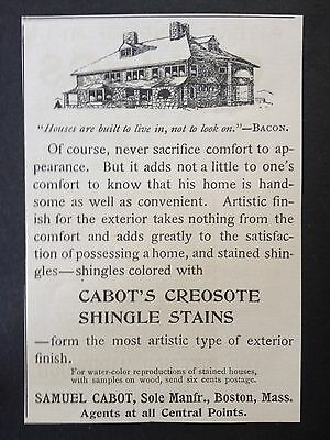 Antique 1893 Ad (1800-7)~Cabot's Creosote Shingle Stain. Boston, Mass.