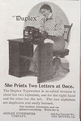 Antique 1898 Ad (1800-17)~Duplex Typewriter Co. Des Moines, Ia.