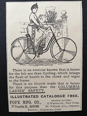 Antique 1896 Ad (1800-1)~Columbia Ladies Safety Bicycle, Pope Mfg. Co.