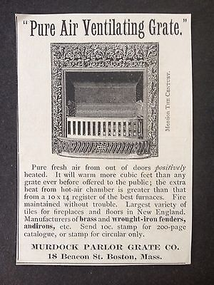Antique 1893 Ad (1800-6)~Murdock Parlor Grate Co. Boston, Mass.