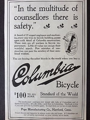 Antique 1896 Ad (1800-9)~Columbia Bicycles. Pope Mfg. Co Hartford, Conn. (2)