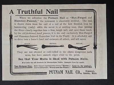 Antique 1893 Ad (1800-6)~Putnam Nail Co. Neponset, Boston. Horseshoe Nail