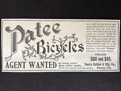 "Antique 1896 Ad (1800-8)~Peoria Rubber Mfg. Co. Ill. ""patee"" Bicycle"