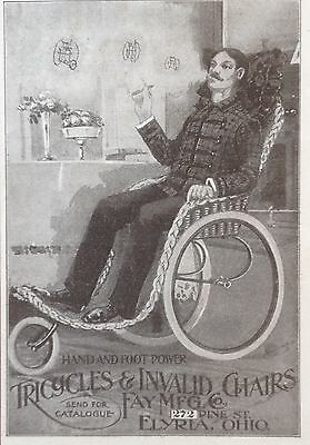 Antique 1898 Ad (1800-17)~Fay Mfg. Co. Elyria, Ohio. Tricycles And Invalid Chair