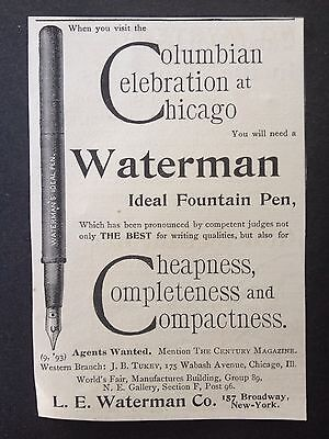 Antique 1893 Ad (1800-7)~Waterman Ideal Fountain Pen. Broadway, Ny.