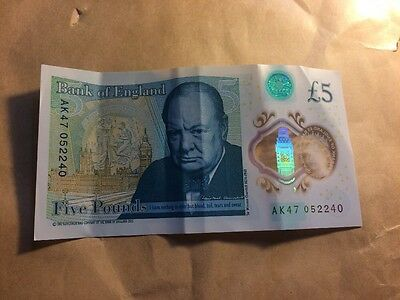AK47 Bank Of England £5 Five Pound Note VERY LOW SERIAL NUMBER 052240