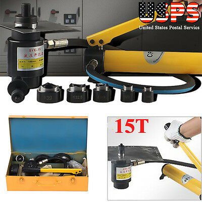 15Ton Hydraulic Knockout Punch Hole Driver Kit Complete Tool Set with 10 Dies