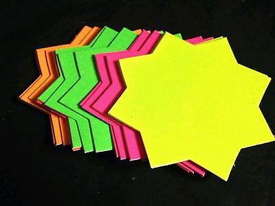 40x Neon Fluorescent Stars Flash Price Display Tags Flourescent Labels Shop 10Cm
