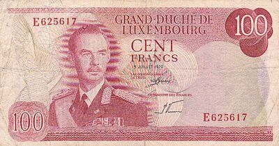 **Principle of Luxembourg Banknote 100 Francs 1970 P-56 AF Grand Duke Jean