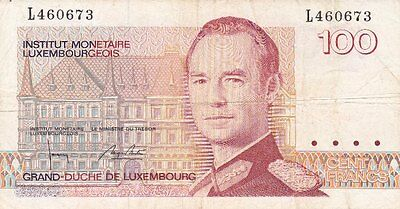 **Principle of Luxembourg Banknote 100 Francs 1980 P-57 VF Grand Duke Jean