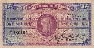 **The Government of Malta Banknote 1 Shilling 1943 P-16 AF George VI