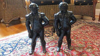 Antique Cast Iron George Washington Standing Andirons w original Fire Iron Dogs