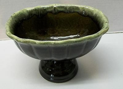 Hull Pedestal Planter Bowl Scalloped Rim Ribbed Brown and Green Pottery Vintage