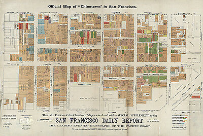 1885 Map of Chinatown in San Francisco California CANVAS PRINT