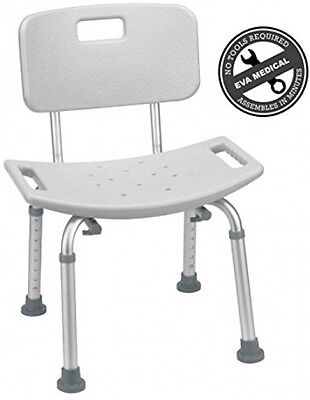 EVA Medical Tool-Free Spa Bathtub Adjustable Shower Chair Seat Bench With Back