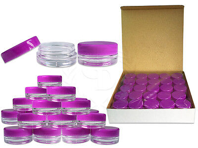 50 Piece 3 Gram/3ml Plastic Round Clear Sample Jar Containers with Purple Lids