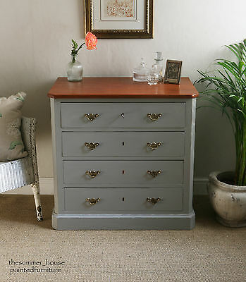 Pretty Antique Shabby Chic Victorian Chest Of Drawers Painted in Farrow & Ball