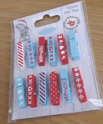 Me to you mini pegs x12 christmas crafts scrapbooking blue red