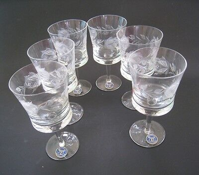 Kristall Schlenz Rattenberg set of 6 etched stemware. New never used.