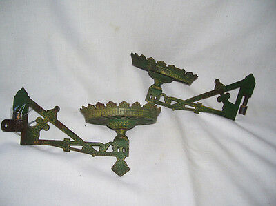 2 Antique Green Cast Iron Oil Lamp Holders Matching Pair