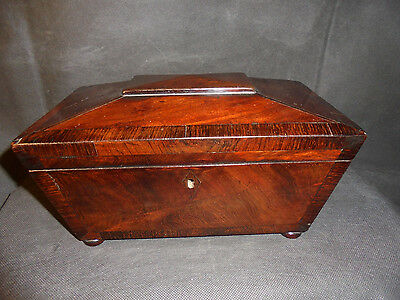 Antique/19th century wooden Rosewood inlaid tea caddy