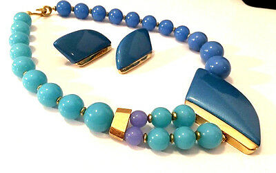 Vtg Trifari SET Blue Gold Lucite Bead Modernist Abstract Design Necklace ii66e