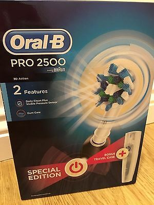 ORAL B PRO 2500 BLACK Rechargeable Toothbrush 3d action special edition
