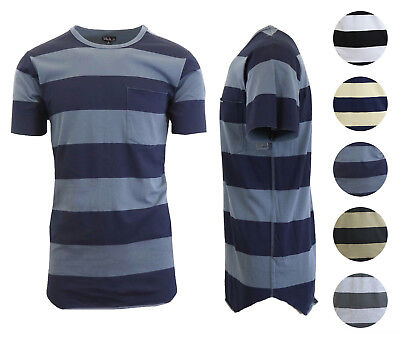 Mens T-Shirt Short Sleeve Striped Tee Washed Combed Cotton Soft Lounge Lay NWT