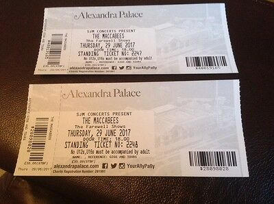 2 x Maccabees Tickets. 29th June. Alexandra Palace