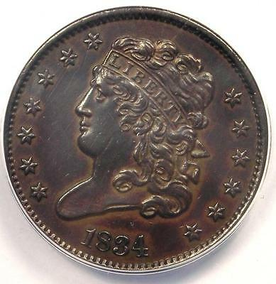 1834 Classic Head Half Cent 1/2C - ANACS AU50 Details - Rare Certified Coin