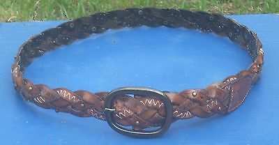 Fossil Genuine Leather~Texas Longhorns~Braided Brown Belt~Size L~Style 080342