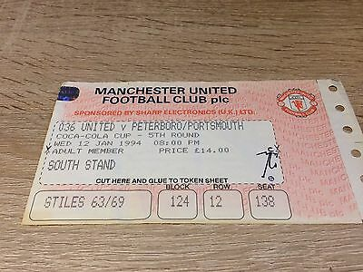 Manchester United V Portsmouth League Cup 1993/4-Ticket Stub