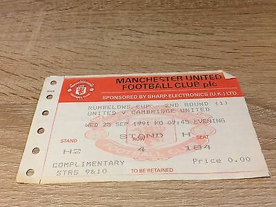 Manchester United V Cambridge City League Cup 1991/2- Winners-Ticket Stub
